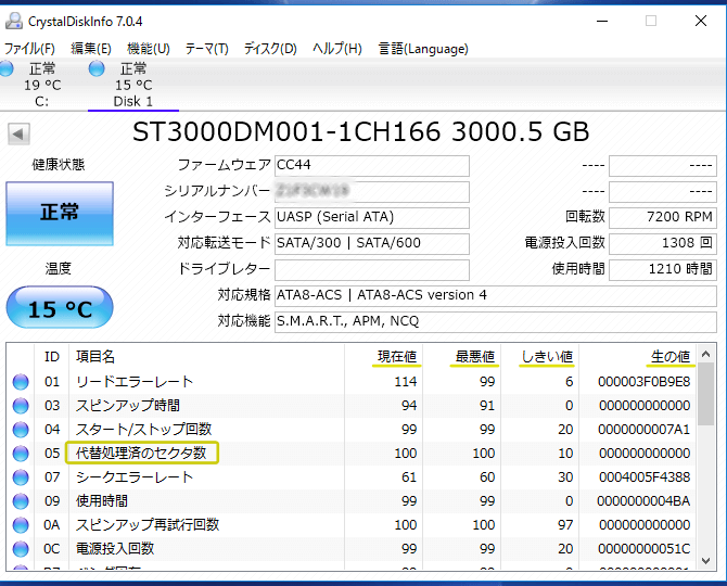 S.M.A.R.T情報の見方
