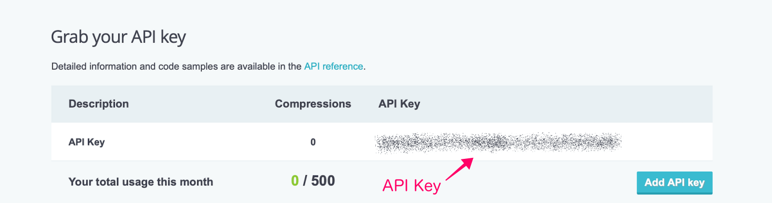 """Compress JPEG & PNG images""のAPI keyの取得方法"